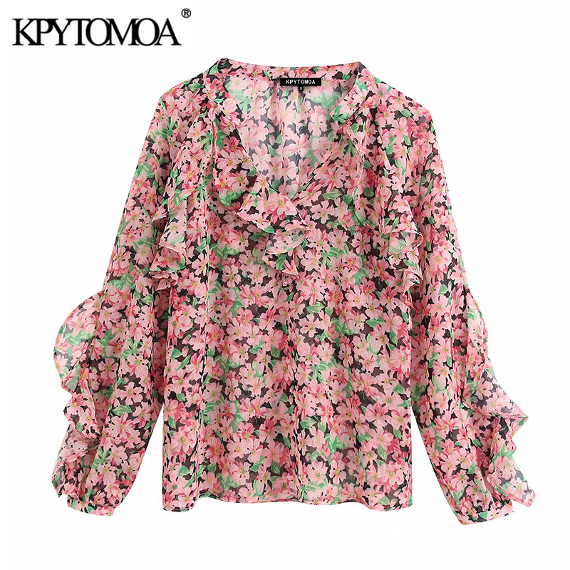 KPYTOMOA Women 2020 Elegant Fashion Floral Print Ruffled Blouses Vintage V Neck Long Sleeve Female Shirts Blusas Chic Tops