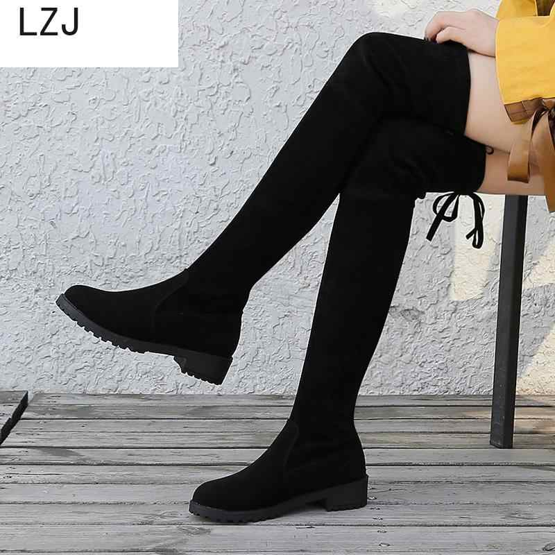 Boyutu 35-41 Kış Diz Çizmeler Üzerinde Kadın Streç Kumaş Uyluk Yüksek Seksi Kadın Ayakkabı Uzun Bota Feminina zapatos De Mujer 2019