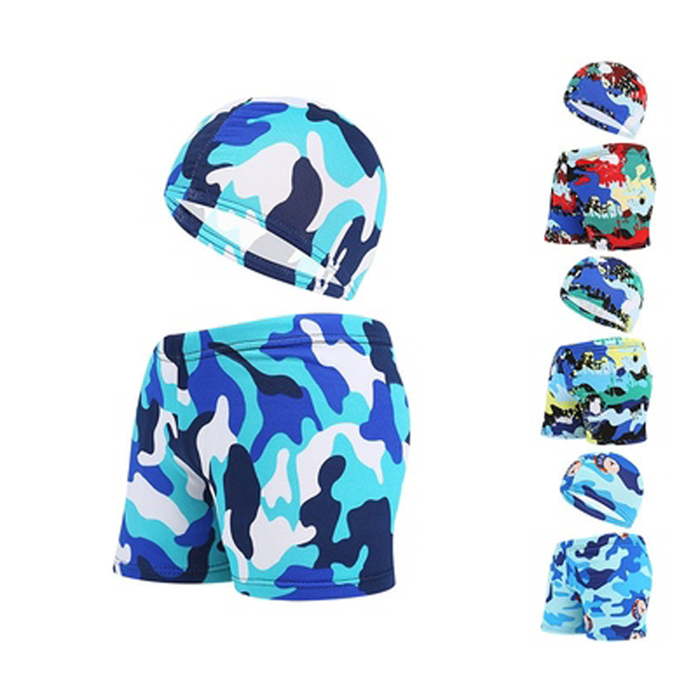 Boy Swimwear Pants Ages 0 To 12 Baby Boy Kid Child Swimsuit With Cap Summer Swim Shorts Cartoon Printed Girls Swimming Trunks