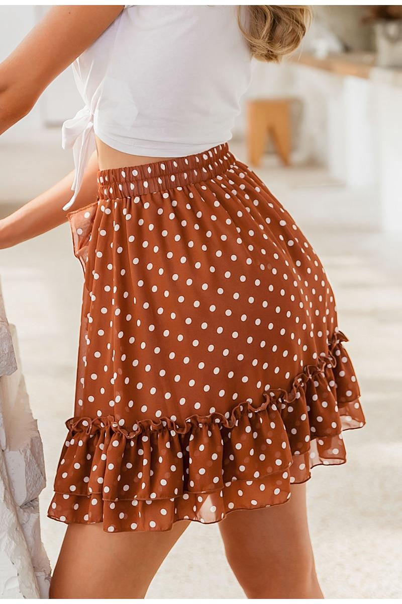 BerryGo Elegant polka dot print mini skirts womens A-line ruffled female skirt 2020 Spring summer holiday beach skirts ladies 21