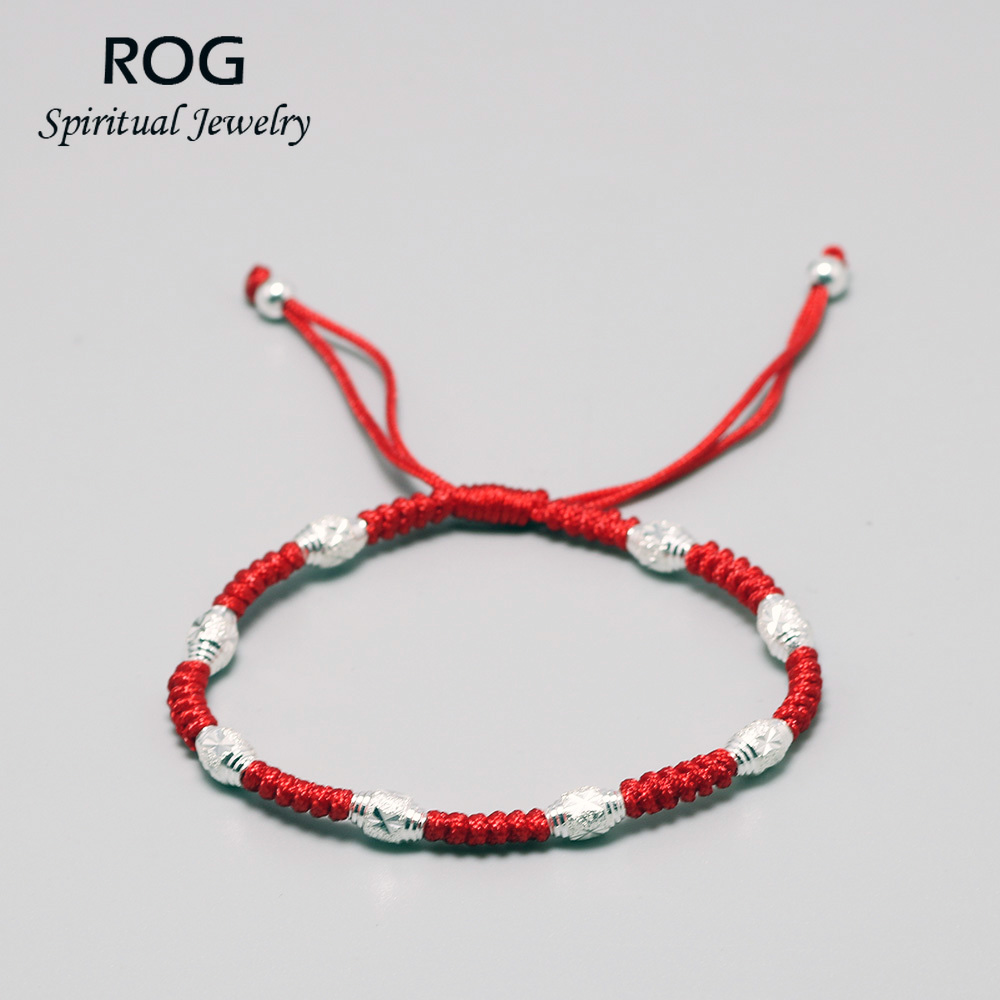 Handmade 925 Sterling Silver Beads Red Rope Bracelets Cord String Braided Blessed Good Luck Knots Bracelet
