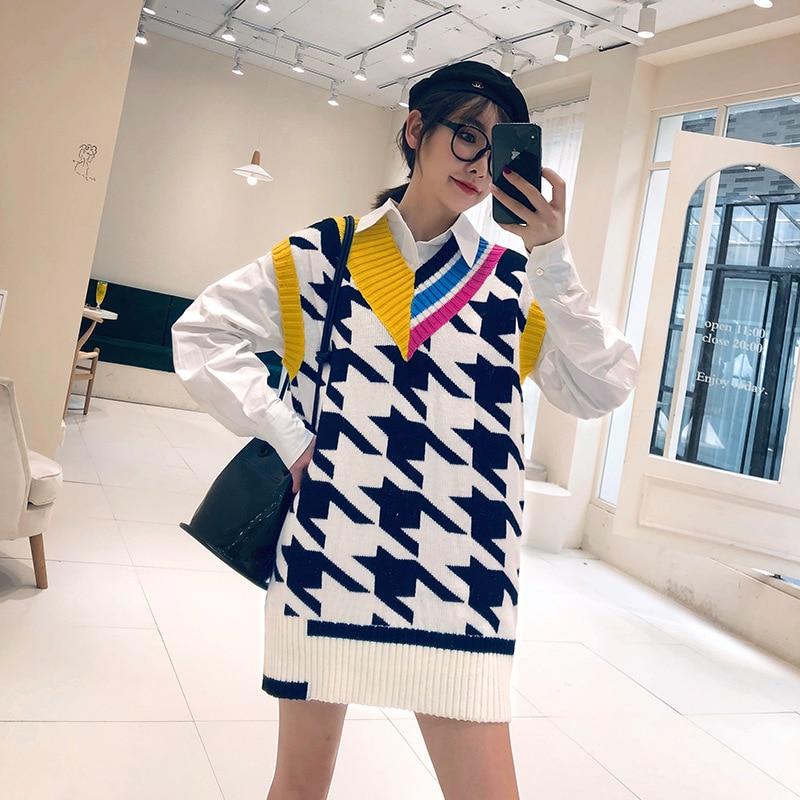 2019 осенний Новый цветной свитер с v образным вырезом и длинным рукавом Женский Повседневный рисунок гусиная лапка шерстяной жилет|Водолазки|   | АлиЭкспресс