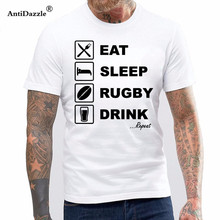 EAT SLEEP RUGBYED DRINK REPEAT MENS RUGBYER T-SHIRT Keep Calm Play Rugbyed Rugbyed Ball Mens T Shirt(China)