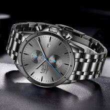 Новый lige мужской роскошный бренд часов бизнес черные кварцевые