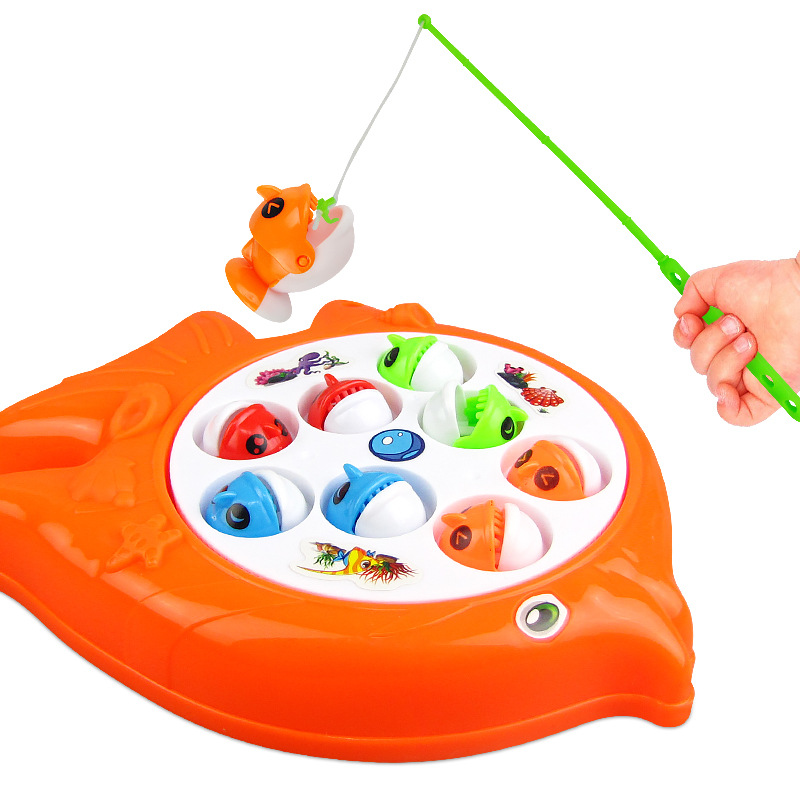 Kids Fishing Toys Set Children Early Educational Toys Musical Gift Electric Rotating Fishing Game Outdoor Sports Toys
