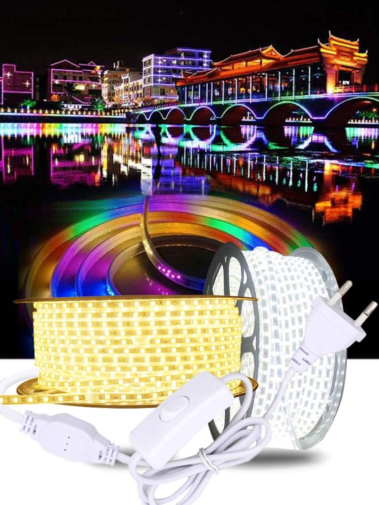 Led-Strip Light Smd 5050 White Waterproof 220V Switch AC 3m 5m 10m