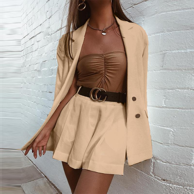 Misswim Elegant Double Breasted Blazer Woman Chic Office Ladies Blazer Two-piece Blazer Set Streetwear Female Blazer And Shorts