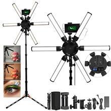Fosoto multimedya aşırı Led yıldız ışık halkası 60W Video lamba ile Tripod ve USB fotografik aydınlatma telefon Youtube makyaj