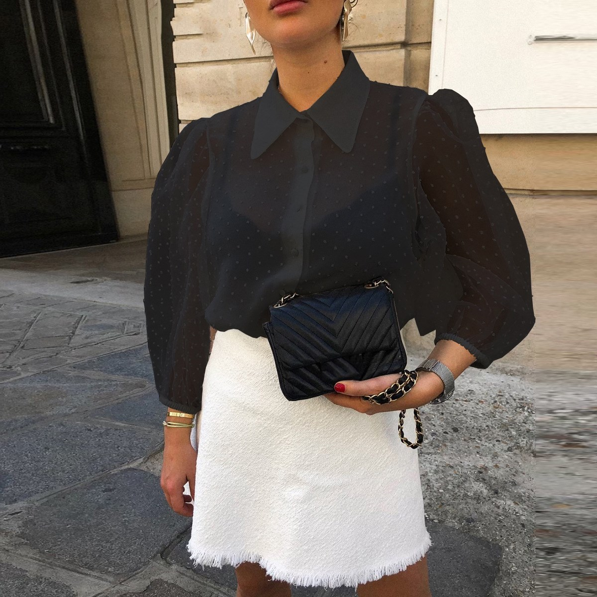 2019 Elegant White Sexy Chiffon Blouse Women Shirt Long Sleeve Buttons Blouses And Tops Office Mesh Plus Size Blouse in Blouses amp Shirts from Women 39 s Clothing