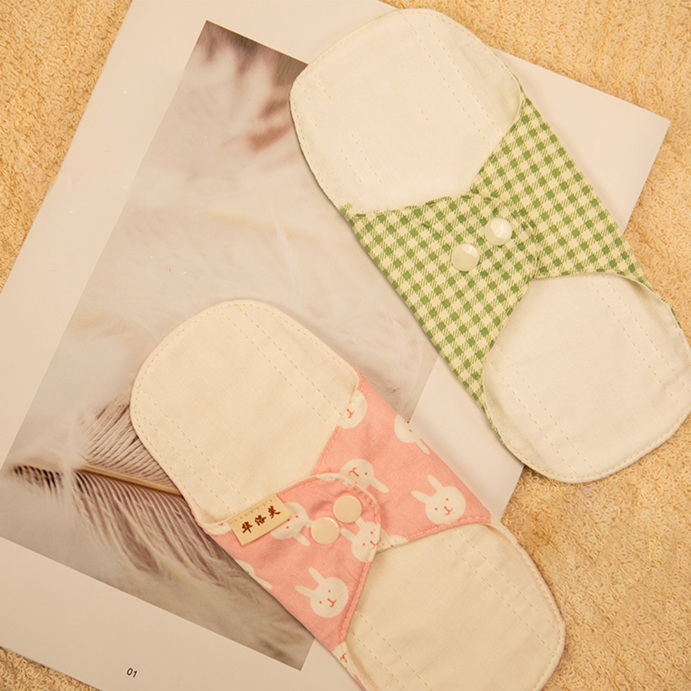 4Pcs/lot Reusable Menstrual Pads Washable Women Sanitary Pads Napkin Soft Cotton Panty Liner Cloth Pads with a Pad Pouch 18cm