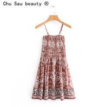 Chu Sau Belleza nueva moda Boho elegante floral imprimir Sling mujeres vestido Midi Vintage elástico de pecho cintura elástica vacaciones vestidos