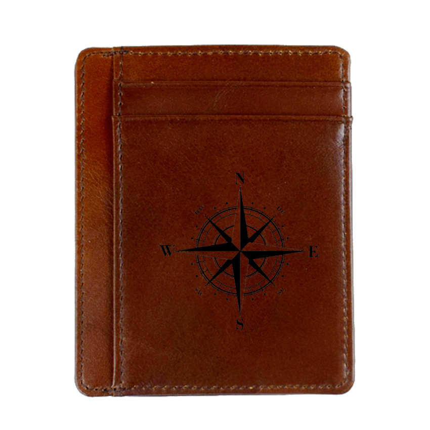 Compass Credit Card Holder Small Purse Genuine Leather Unisex Card Wallet Super Thin Card Case Money Holders
