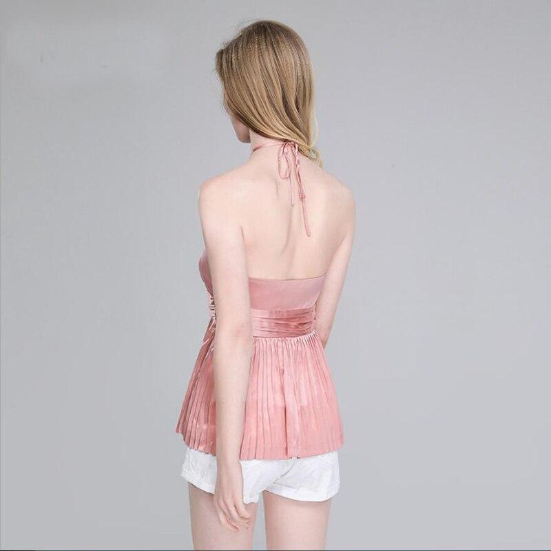 Bogeda nouveau été soie Camisole femmes dos nu mode licou gilet 100 soie Blouse Sexy Club fête Pure soie réservoir hauts vêtement pour femme - 2