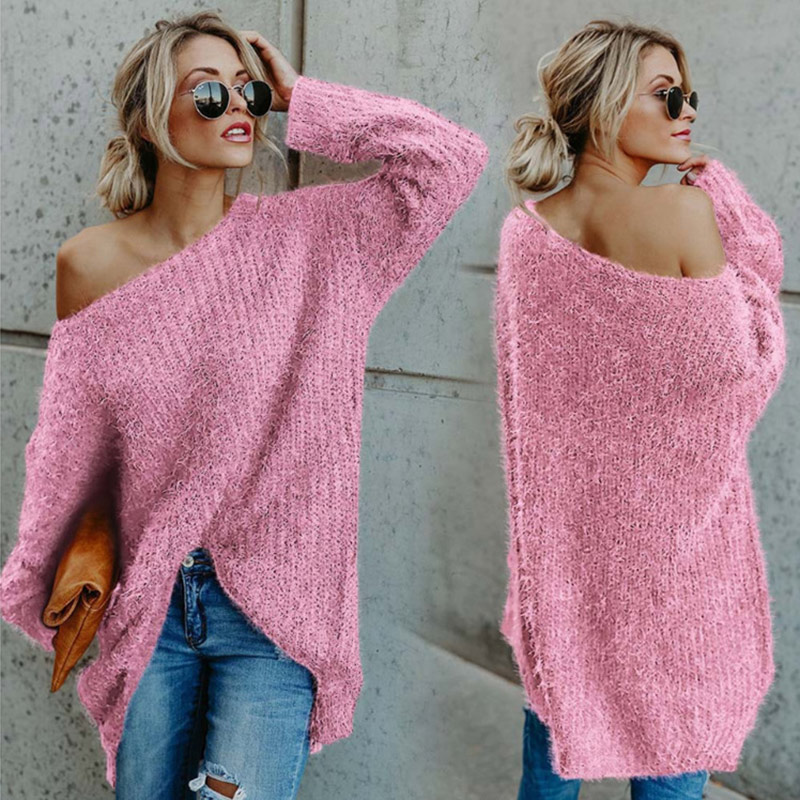 Hot Women Autumn Winter One Shoulder Sweater Plus Size Loose Fit Plush Pullover Sweater CGU 88