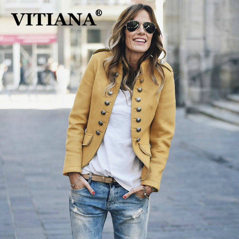 VITIANA Women Casual Blazers Autumn 2019 Female Solid Yellow Buttons Turtleneck Office Work Blazer Ladies Fashion OL Coats