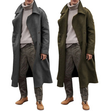 New Long-sleeved Trench Coat Men Classic Solid Color Autumn Winter Long Jacket Casual Loose Male Temperament Overcoat