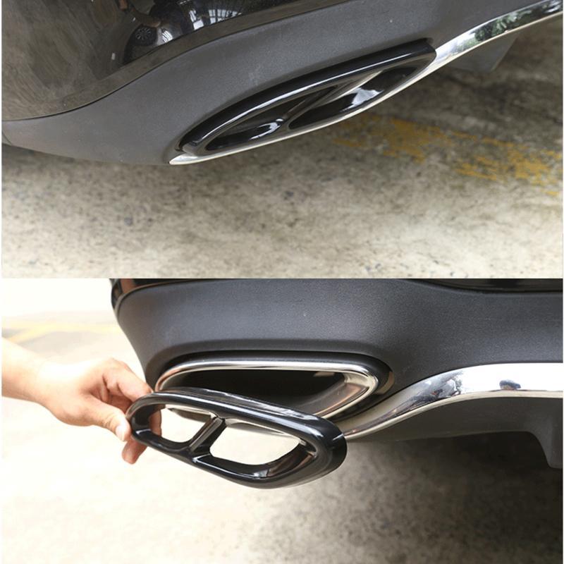 Pièce de voiture 2 pièces pour Mercedes Benz GLC C classe E C207 coupé 2014 2017 W212 W213 W205 X253 C180 C200 finition d'échappement en acier noir brillant |