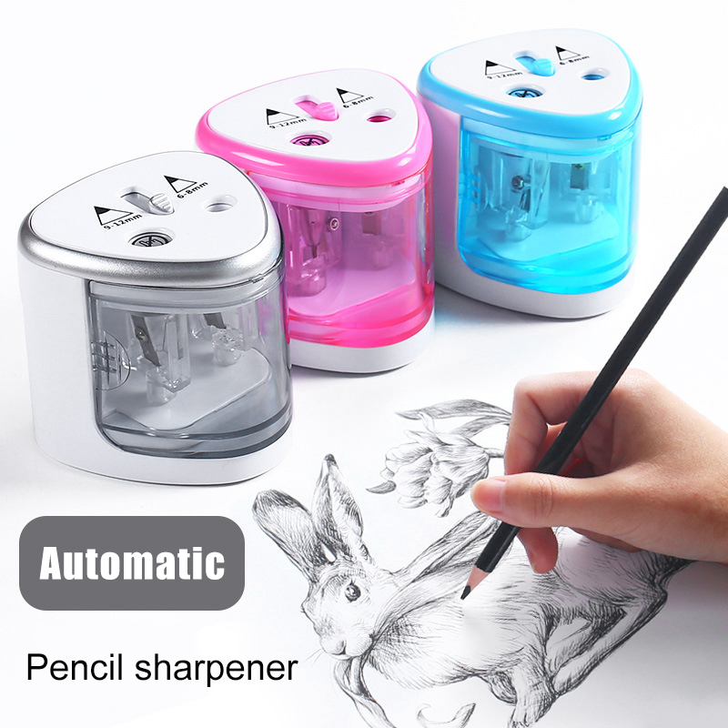New Electric Pencil Sharpener Portable Double Hole for Student Classroom Home Office DOM668