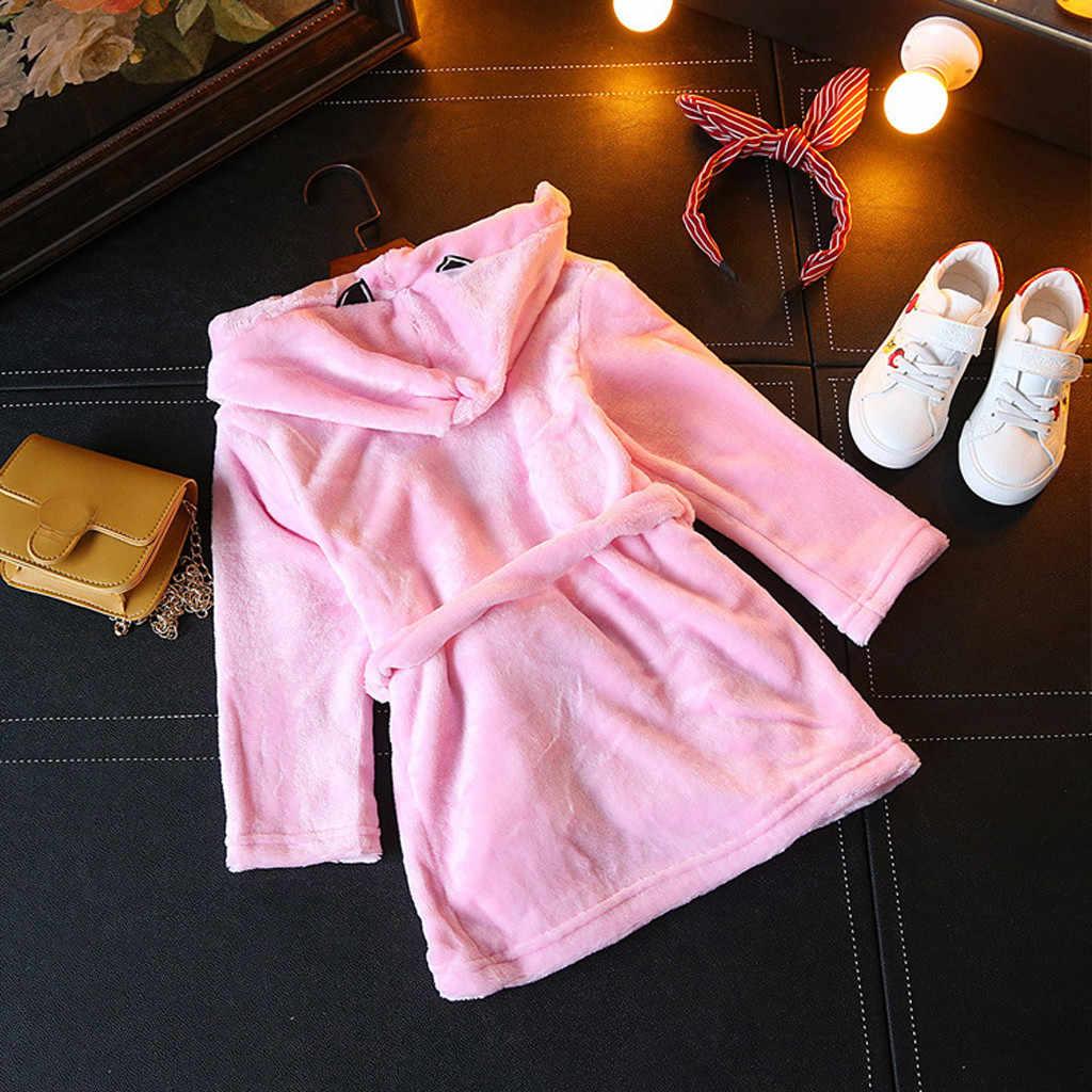 Niños bebés niñas ropa moda sólida con capucha batas de baño de franela pijamas niños pijama de noche pijama infantil