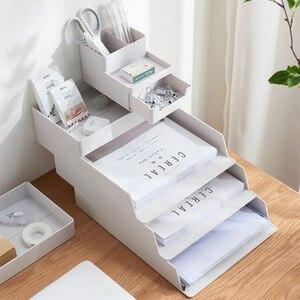 Домашний офисный Настольный органайзер, штабелируемые коробки для хранения ящика A4, папка для файлов, лоток для хранения, удобный держатель...