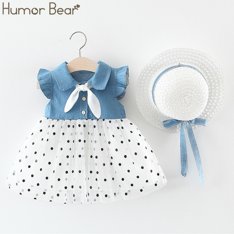 Humor Bear New Summer Baby Girl Dress Denim Mesh Flying Sleeve Hat As A Gift 2PC Set Baby Kids Clothing Toddler Girls Clothes