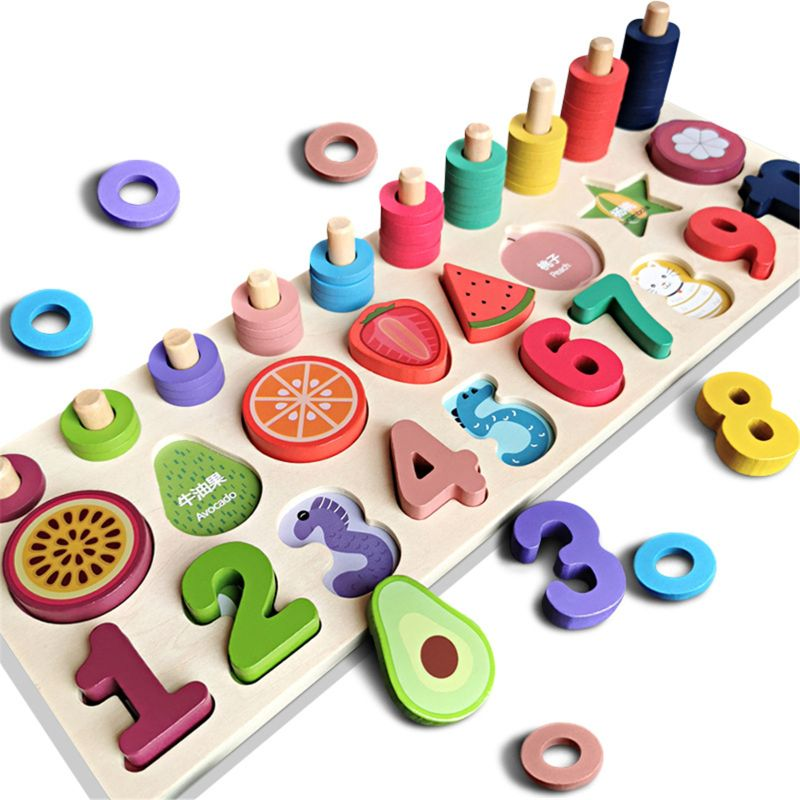 Wooden Train with Numbers Educational Toys Fine Motor Skills Hand Eye Coordination Toys for Kids Learning Shape Number Counting and Color 1Set