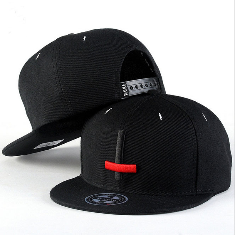 2017 New Brand Street Dance Cool Hip Hop Caps Embroidery Black Red Cross Snapback Snap Back Men Baseball Caps Hats Bone Hat