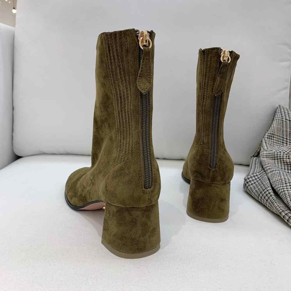 Vibsterimma yüksek kalite kadınlar hakiki deri yarım çizmeler arka fermuar düşük topuk yuvarlak ayak patik