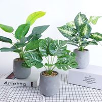 Artificial Plants Green Turtle Leaves Scindapsus Bonsai Potted Home Office Garden Decor
