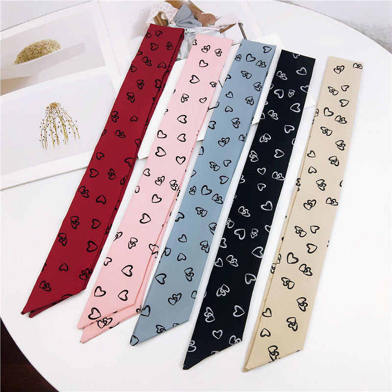 Baru Panjang Sempit Tas Strip Handuk Kecil Dasi Desain Hati Syal Wanita Syal Fashion Wanita Syal Cetak Wanita Syal Sutra SJ144
