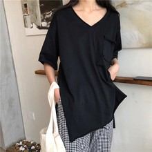 Casual Simple Solid Color T-Shirt 2019 Summer New Pocket Side Slit Loose Pullover Fashion T Shirt Women V Neck Half Sleeve Tops sexy style jewel neck solid color voile splicing half sleeve t shirt for women