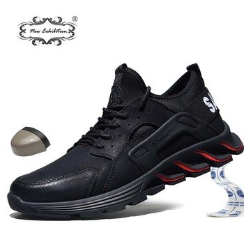New exhibition waterproof Safety Shoes 2019 Autumn Winter Outdoor Men Steel Toe Cap Anti-smashing fashion Lightweight work Boots new exhibition fashion safety shoes men s breathable mesh anti smashing piercing lightweight steel toe cap wear site work shoes