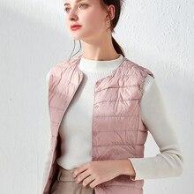 Vest Jacket Padded Waistcoat Puffy Duck-Down Ultralight Women Sleeveless Single-Breasted