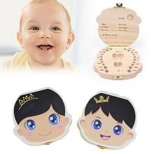 Caja de madera para guardar dientes de bebé, organizador de dientes de leche para niño y niña, regalo de recuerdo, Color español e inglés