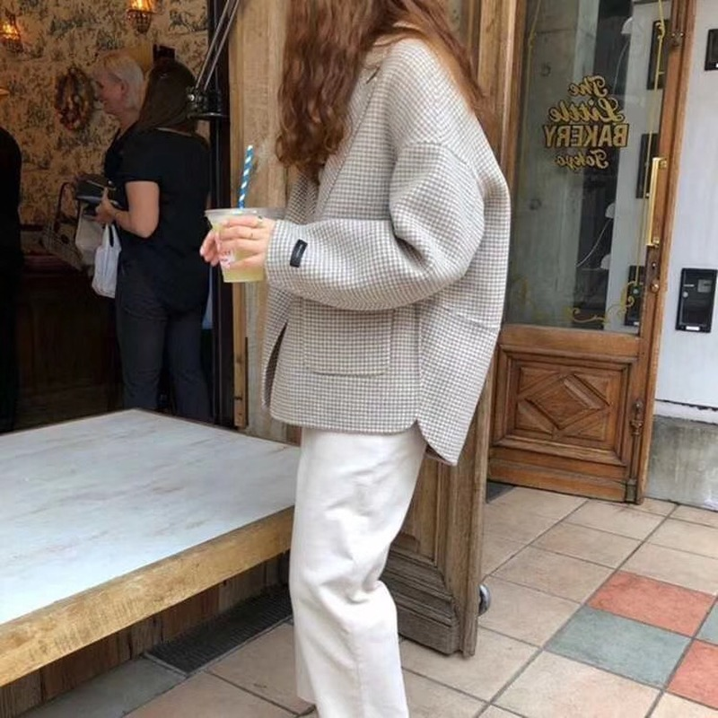 Short Woolen Plaid Coat Female 2020 Loose Casual Houndstooth Outwear Women Woolen Blazer Jacket