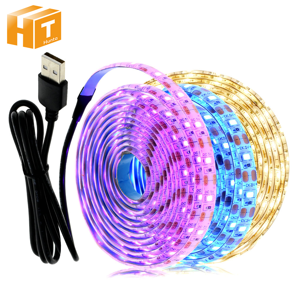 5V USB LED Strip Light 1M 2M Pink / Ice Blue / Warm White / White / RGB 2835 TV Background Lighting Decoracion Fairy Lights