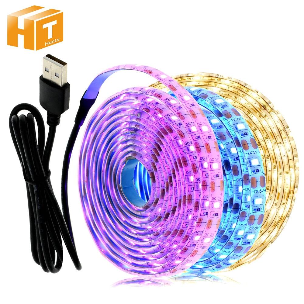 5V USB LED Strip Light 1M 2M Pink / Ice Blue / Warm White / White / RGB 2835 TV Background Lighting Decoracion Fairy Lights