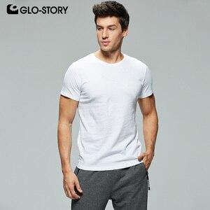 GLO-STORY комплект из 5 предметов, повседневные белые мужские футболки, 100% хлопок, круглый вырез, короткий рукав, Распродажа мужских топов, лето ...