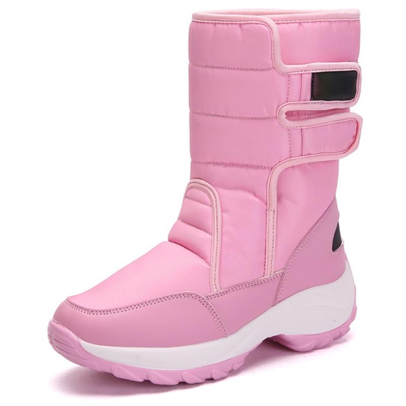 Women's snow boots Mid calf Rubber Warm winter shoes female Wear resistant Antiskid Waterproof Plush Platform boots women