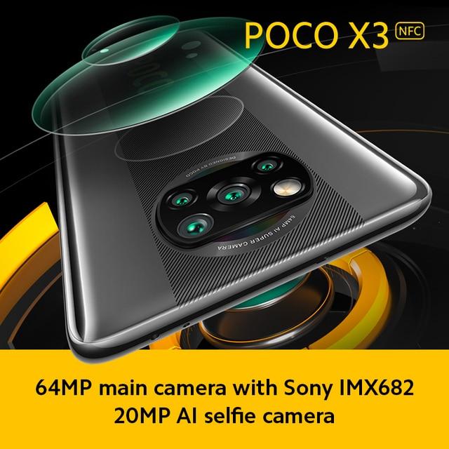"Global Version POCO X3 NFC 6GB Mobile Phone Snapdragon 732G 64MP Quad Camera Smartphone 6.67"" 120Hz 5160mAh 5"