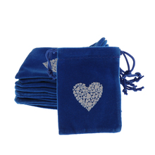 10 PCs Dark Blue Jewelry Velvet Pouches Gift Bags With Weave Drawstring Jewelry Packaging Display  7 x 9cm