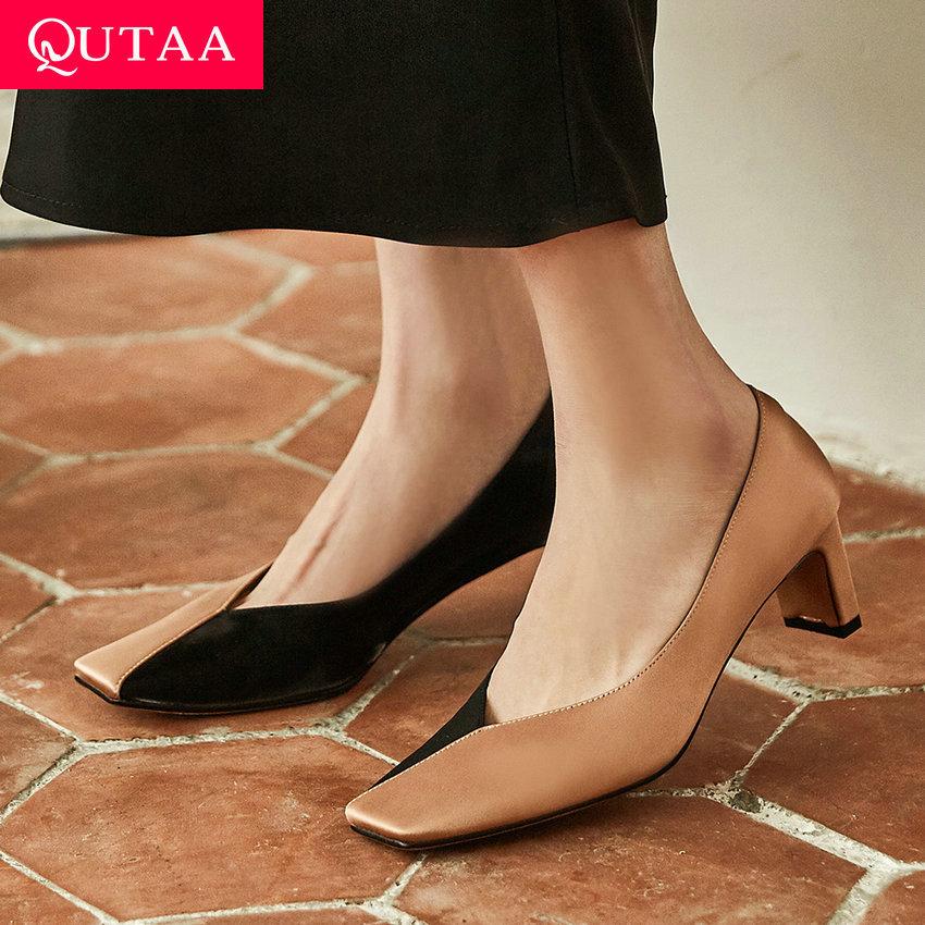 Qutaa 2020 primavera outono praça toe deslizamento em bombas femininas qualidade de couro de seda cor mista moda senhoras único sapatos tamanho 34-39
