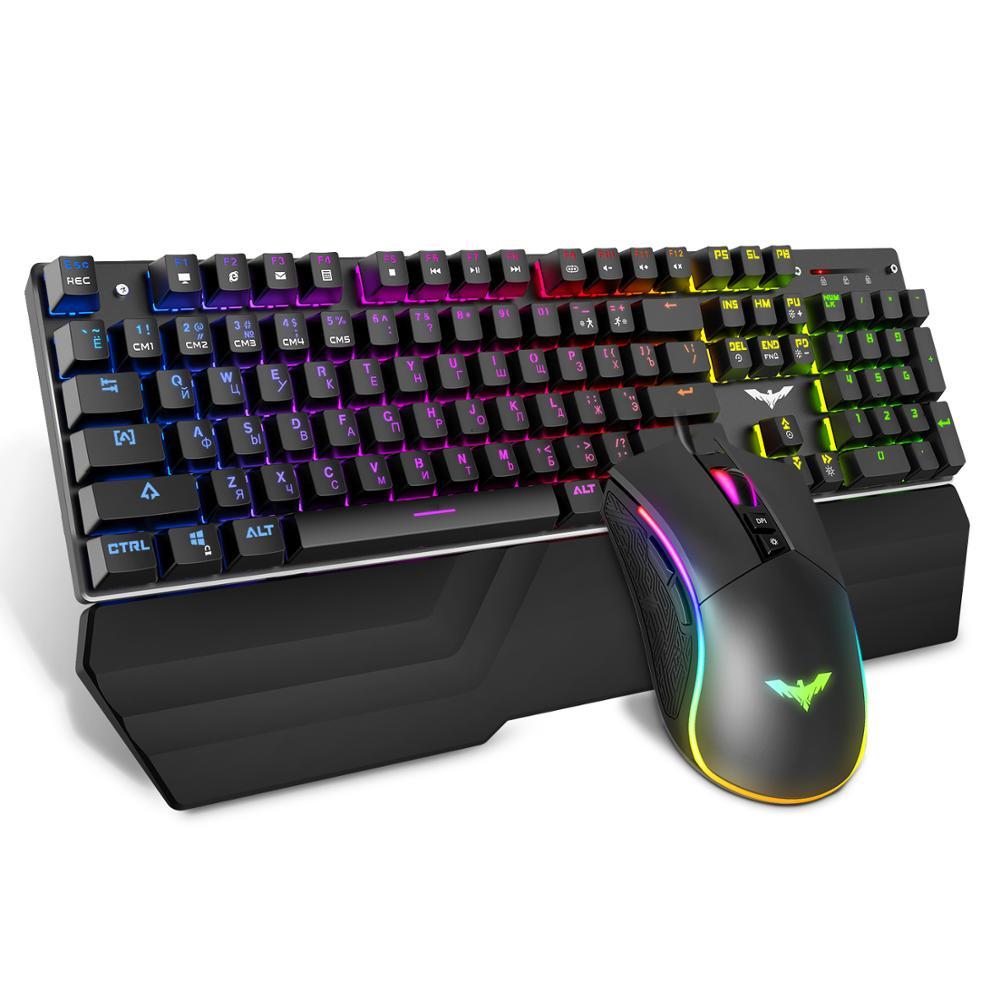 HAVIT Gaming Mechanical Keyboard 104 Keys RGB Light Blue / Red Switch Wired Keyboard or Keyboard Mouse Set Ru / English Version(China)