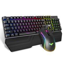 HAVIT Gaming Mechanical Keyboard 104 Keys RGB Light Blue / Red Switch Wired Keyboard or Keyboard Mouse Set Ru / English Version