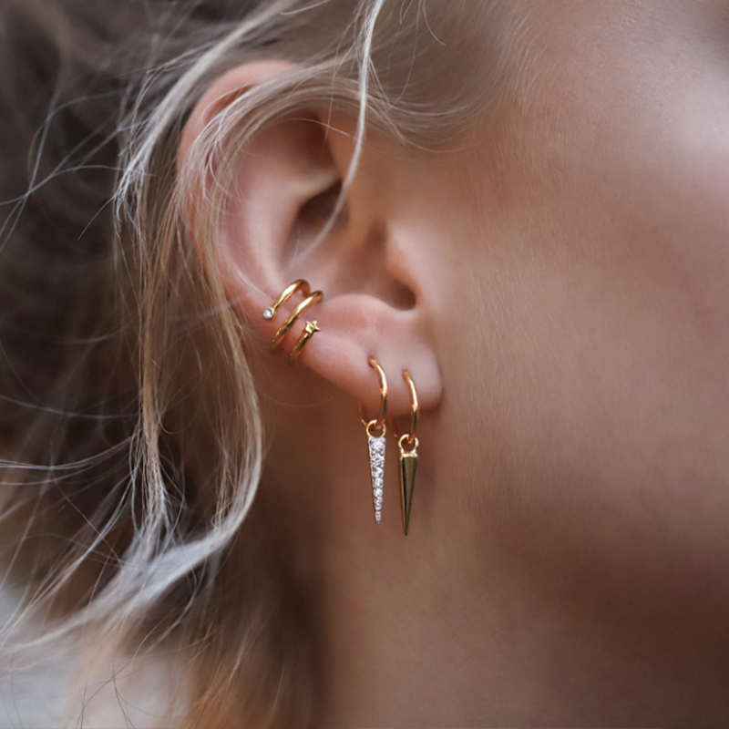 Elegant Women Ear Clip Gold Cartilage Punk C Shape Cross Clip On Earrings Circle Ear Cuff No Pierced Ear Wrap Earcuff Clips