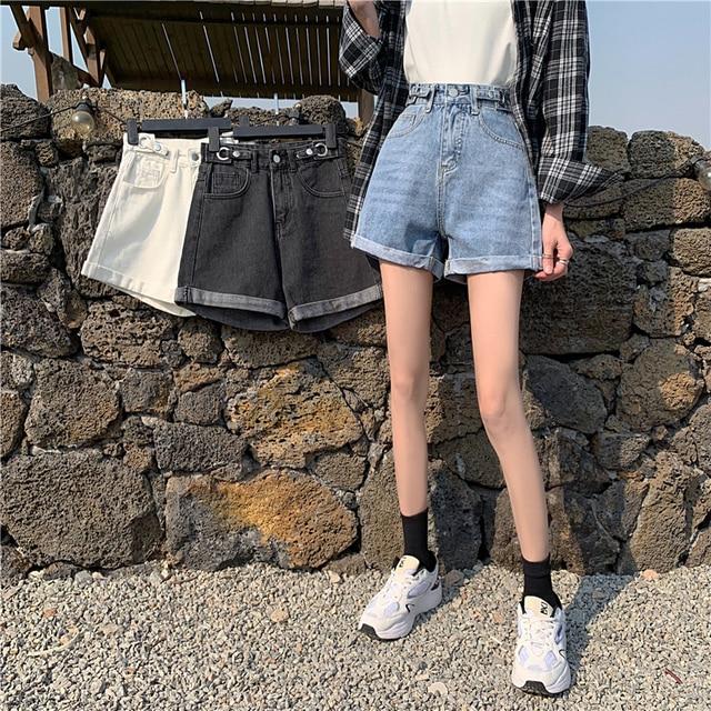 TIGENA High Waist Denim Shorts Women 2021 Summer Casual All-Match Jeans Shorts Female with Pocket Black White 5
