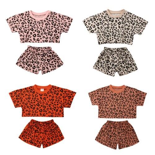 Pudcoco, в наличии США, От 1 до 4 лет для маленьких девочек, повседневные топы с короткими рукавами + леопардовые шорты штаны одежда комплект одежды принцессы|Комплекты одежды| | АлиЭкспресс