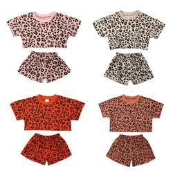 В наличии на складе в США, Повседневные детские топы Pudcoco с коротким рукавом и леопардовым оформлением