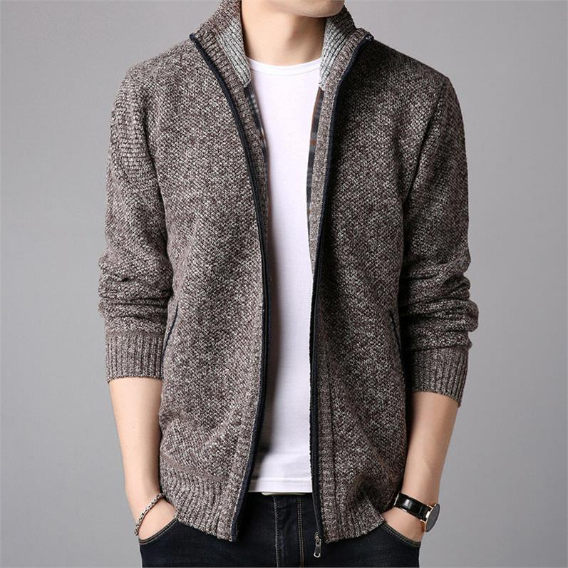 OLOEY Best Classic 2017 Autumn Winter Casual Men's Jackets And Coats Warm Knitting Jacket Men Zipper Outerwear Coat Plus Size