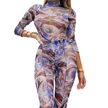 Women's Casual High-waist Pencil Pants Personality Marble Pattern Tight-fitting Split Trousers Marble pattern slit Yoga pants